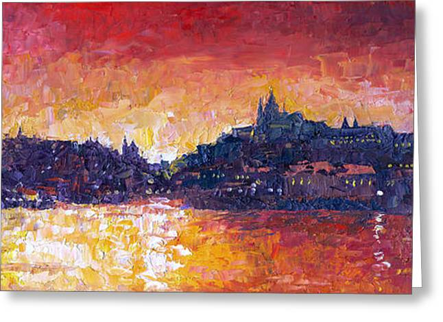 Europe Greeting Cards - Prague Red Panorama Greeting Card by Yuriy Shevchuk