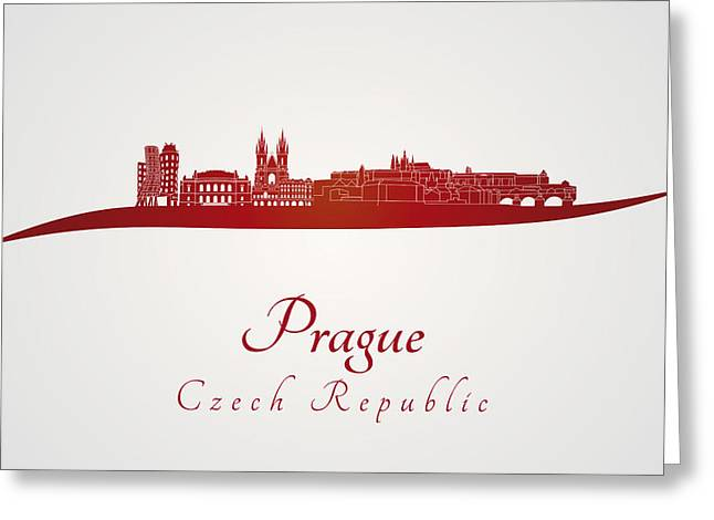 Prague Skyline In Red Greeting Card by Pablo Romero