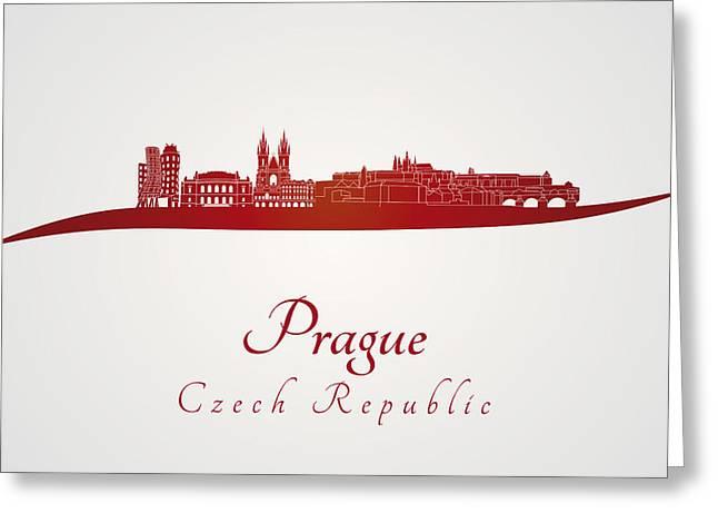 Czech Republic Digital Art Greeting Cards - Prague skyline in red Greeting Card by Pablo Romero