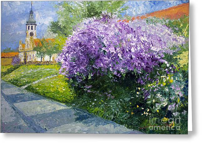 Prague Paintings Greeting Cards - Prague Spring Loreta Lilacs Greeting Card by Yuriy Shevchuk