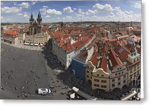 Barok Greeting Cards - Prague Staromeststke Namesti  Old Town Square with terraces Greeting Card by Bart De Rijk