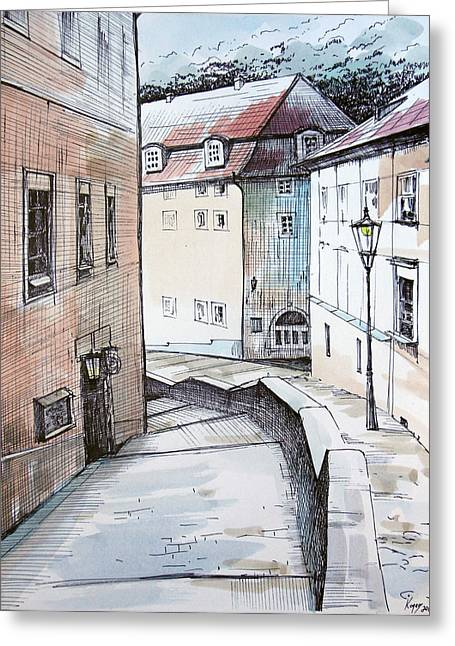 Prague Paintings Greeting Cards - Prague street Greeting Card by Igal Kogan