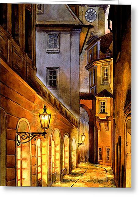 Kafka Digital Art Greeting Cards - Prague Street Melantrichova Greeting Card by Dmitry Koptevskiy