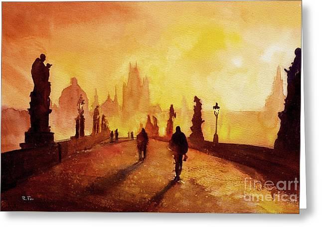 Watercolor Society Greeting Cards - Prague Sunrise Greeting Card by Ryan Fox