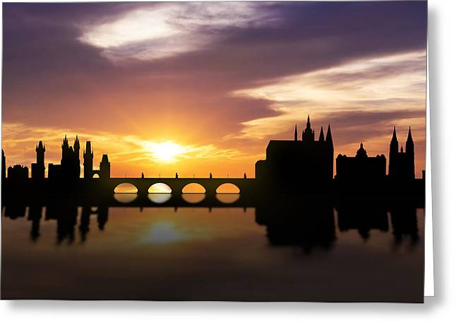 Reflections Mixed Media Greeting Cards - Prague Sunset Skyline  Greeting Card by Aged Pixel