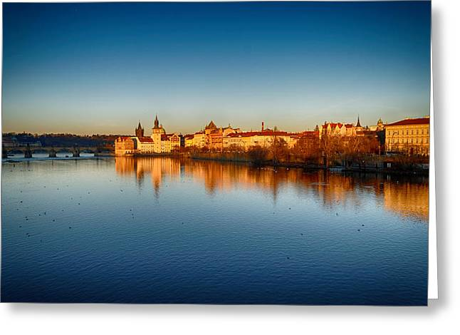 Czech Republic Photographs Digital Greeting Cards - Prague sunset Greeting Card by Victor Zahariev