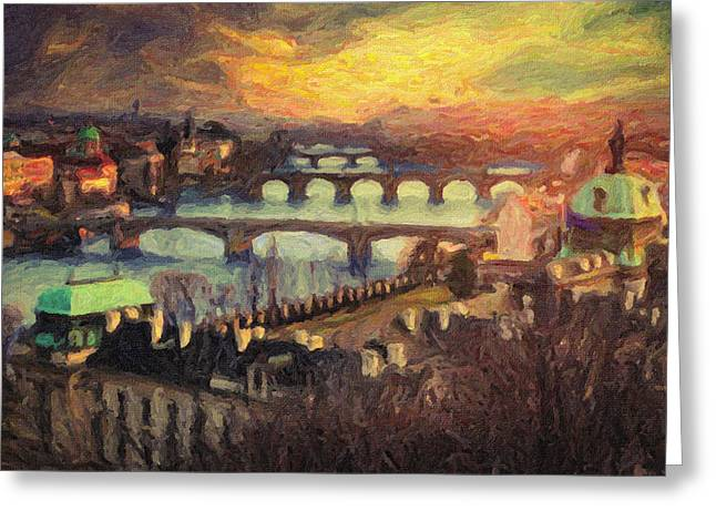 Charles Bridge Paintings Greeting Cards - Prague Greeting Card by Taylan Soyturk