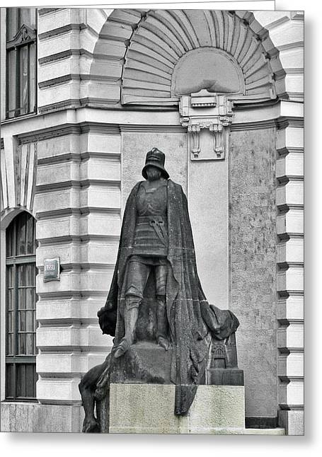 Prague - The Iron Man From A Long Time Ago And A Country Far Far Away Greeting Card by Christine Till
