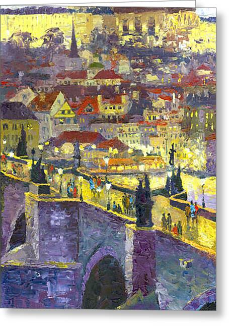Old Buildings Greeting Cards - Prague Violet Panorama Night Light Charles Bridge Greeting Card by Yuriy Shevchuk