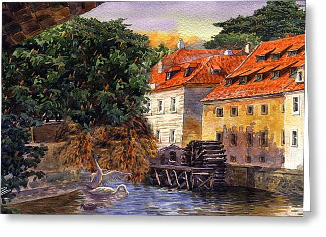 Praha Digital Art Greeting Cards - Prague Water Mill Greeting Card by Dmitry Koptevskiy