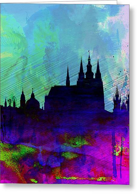 Panoramic Greeting Cards - Prague Watercolor Skyline Greeting Card by Naxart Studio