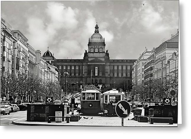 European Cities Greeting Cards - Prague Wenceslas Square and National Museum Greeting Card by Christine Till