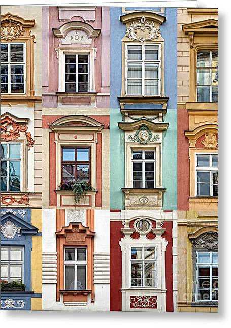 Prague Windows Greeting Card by Delphimages Photo Creations