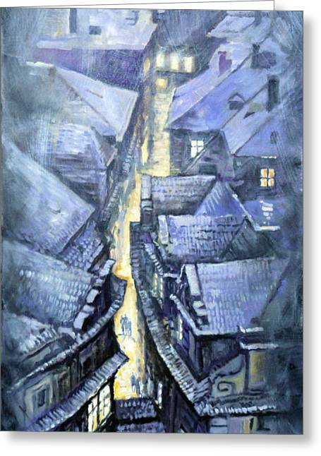 Europe Paintings Greeting Cards - Prague Winter Melantrihova str Greeting Card by Yuriy Shevchuk