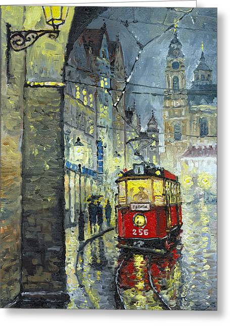 Streetscape Paintings Greeting Cards - Praha Red Tram Mostecka str  Greeting Card by Yuriy  Shevchuk