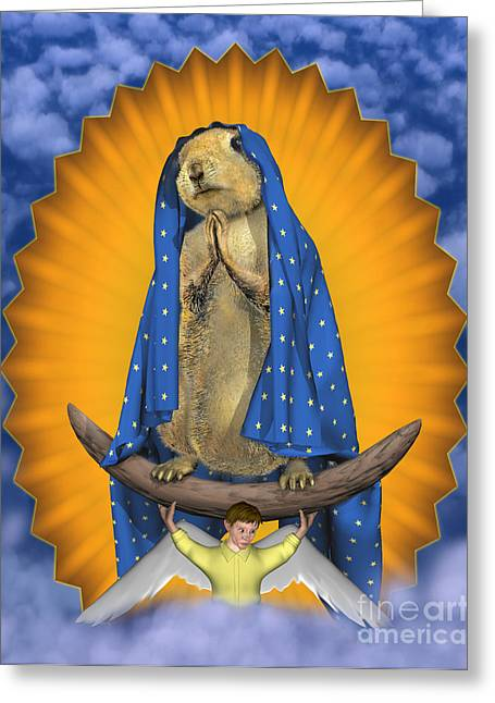 Virgin Of Guadalupe Art Greeting Cards - Prairie Dog of Guadalupe Greeting Card by Bob Deaver