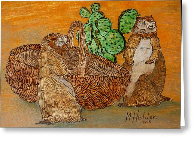 Prairies Pyrography Greeting Cards - Prairie Dogs Greeting Card by Mike Holder
