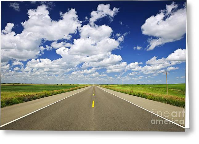 Field. Cloud Greeting Cards - Prairie highway Greeting Card by Elena Elisseeva