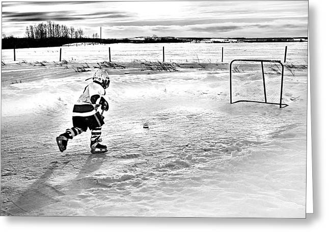 Prairie Hockey Greeting Card by Elizabeth Urlacher