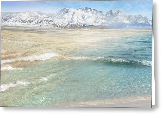 Snow-covered Landscape Digital Art Greeting Cards - Prairie Ocean Greeting Card by Sonya Shannon