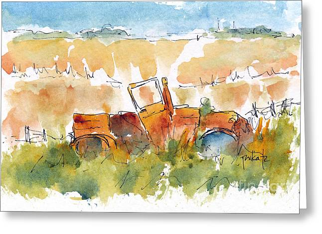 Late-summer Greeting Cards - Prairie Rustbucket Greeting Card by Pat Katz