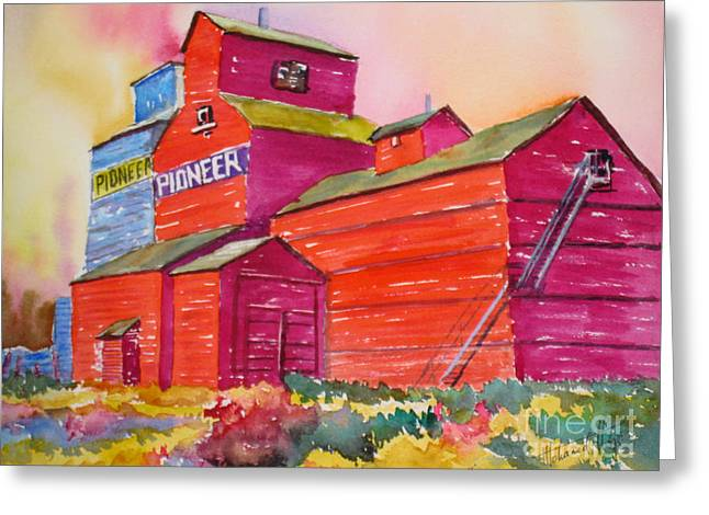 Wooden Building Paintings Greeting Cards - Prairie Sentinel Greeting Card by Mohamed Hirji