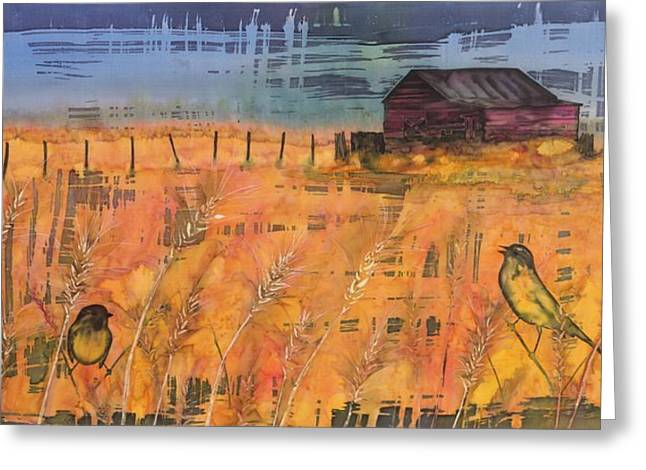 Harvest Tapestries - Textiles Greeting Cards - Prairie Song Greeting Card by Carolyn Doe