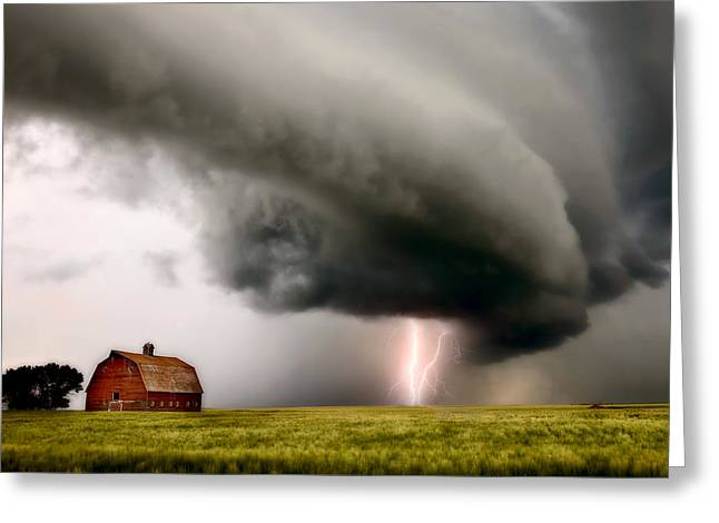 Thunderstorm Greeting Cards - Prairie Storm Clouds lightning storm Greeting Card by Mark Duffy
