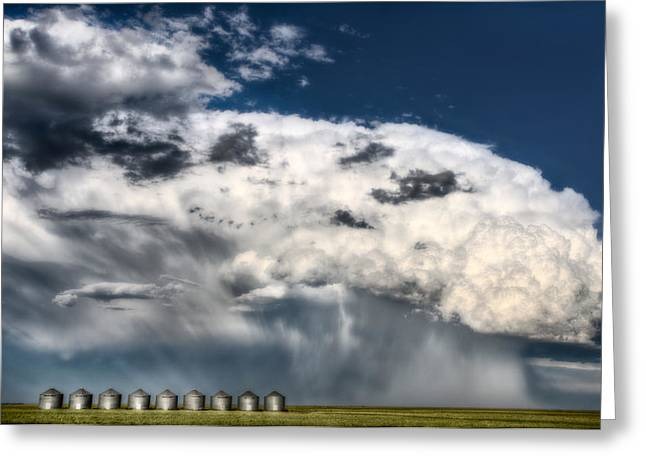 Country Lanes Digital Art Greeting Cards - Prairie Storm Clouds Greeting Card by Mark Duffy