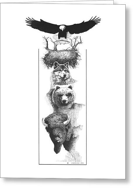 Prairie Totem Greeting Card by Paul Shafranski