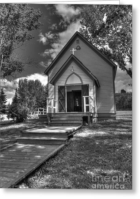 Tiny Whites Greeting Cards - Prairie Ukrainian Church Greeting Card by Darcy Michaelchuk