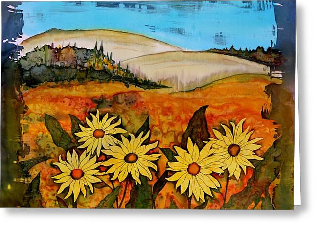 Orange Tapestries - Textiles Greeting Cards - Prairie wildflowers Greeting Card by Carolyn Doe