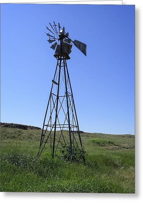 Water Powered Generator Greeting Cards - Prairie Windmill - Washington Greeting Card by Daniel Hagerman