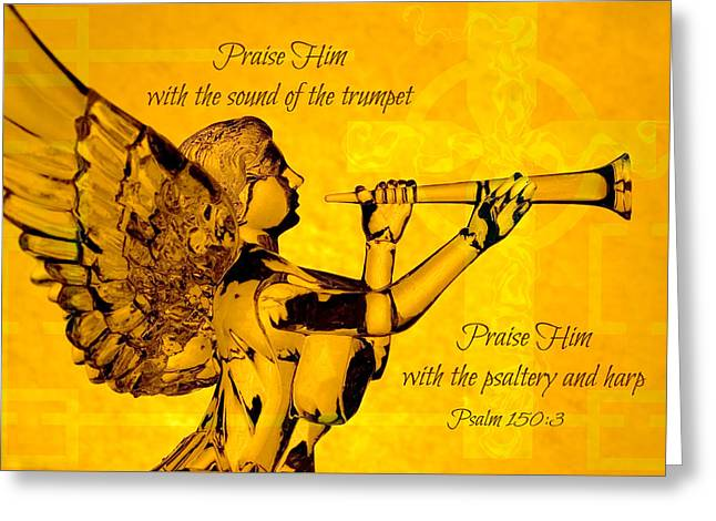Praise Him With The Trumpet Psalm Greeting Card by Denise Beverly