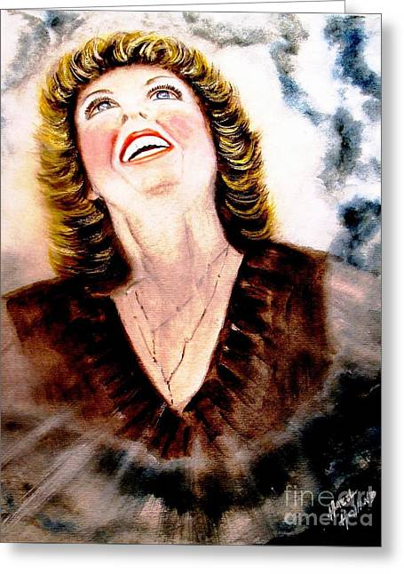 Spiritual Portrait Of Woman Paintings Greeting Cards - Praise is My Spiritual Weapon Greeting Card by Hazel Holland