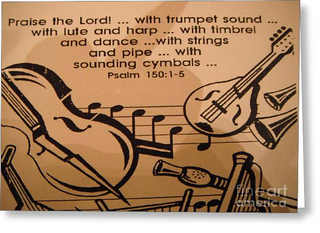 Praise Strings Greeting Card by GJ Glorijean