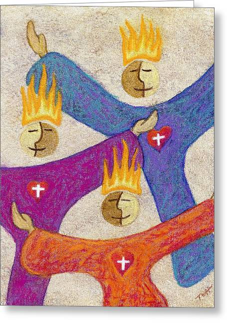 Pentecost Paintings Greeting Cards - Praise Greeting Card by Terry Hall