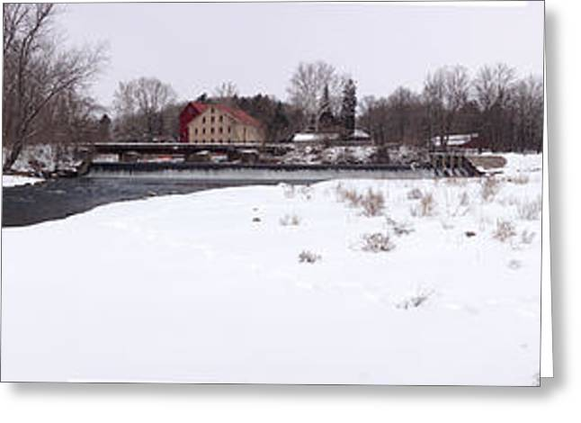 Stockton Greeting Cards - Prallsville Mills and Waterfalls - Stockton New Jersey Panorama Greeting Card by Bill Cannon