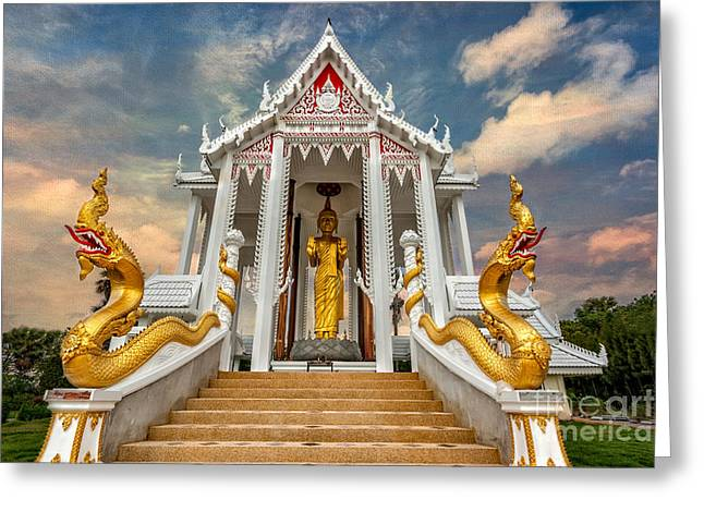 Pranburi Temple Greeting Card by Adrian Evans