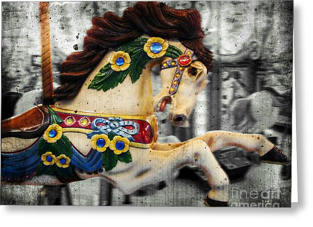 Life Is Beautiful Greeting Cards - Carousel - Prancer Greeting Card by Colleen Kammerer