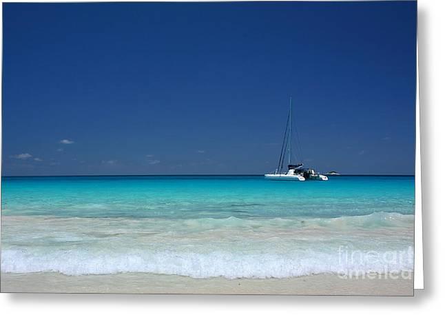 Kate Mckenna Greeting Cards - Praslin Island Catamaran Greeting Card by Kate McKenna