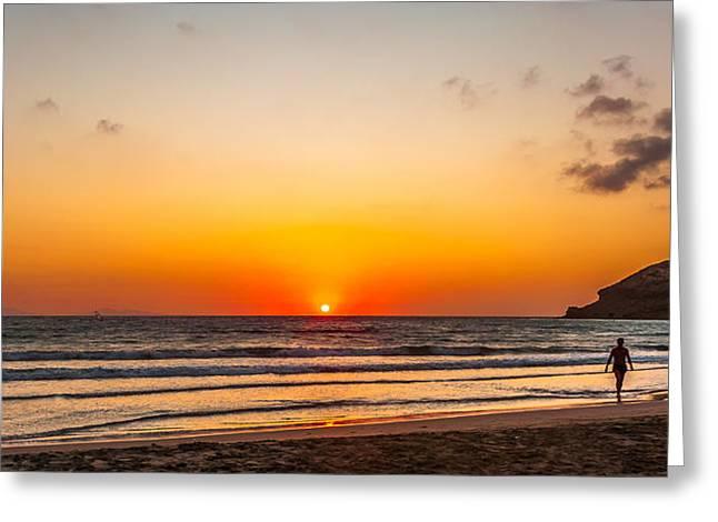 Kiteboarding Greeting Cards - Prasonisi Sunset Beach Greeting Card by Julis Simo