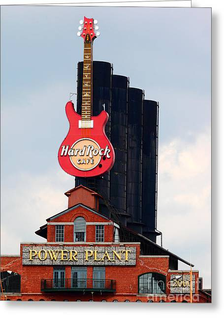 Hard Rock Cafe Building Greeting Cards - Pratt Street Power Plant Baltimore Greeting Card by James Brunker