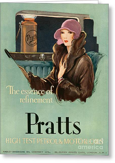 Vintage Automobiles Greeting Cards - Pratts  1930 1930s Uk Cc  Women Woman Greeting Card by The Advertising Archives