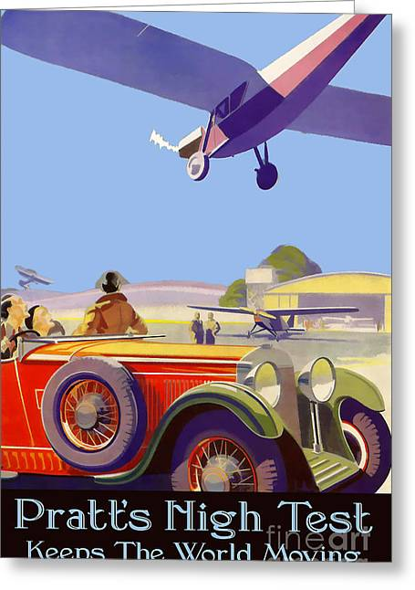 Vintage Aircraft Greeting Cards - Pratts High Test Vintage Advertisment Greeting Card by Jon Neidert