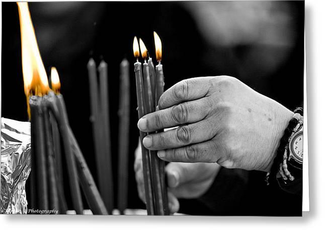 Isaac Silman Greeting Cards - Pray Candles Greeting Card by Isaac Silman