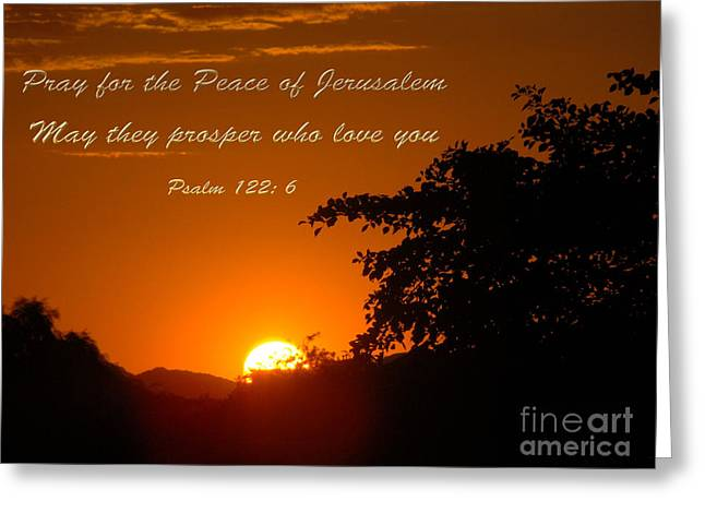 Sunset Framed Prints Mixed Media Greeting Cards - Pray for The Peace Greeting Card by Beverly Guilliams