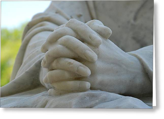 Praying Hands Greeting Cards - Pray For Us Greeting Card by Kathy Gibbons