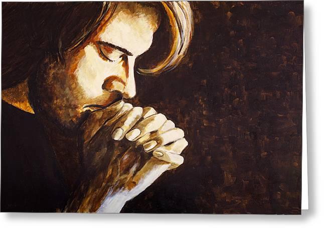 Praying Hands Greeting Cards - Pray Greeting Card by Jill Van Iperen