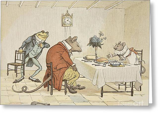 Tea Party Greeting Cards - Pray Miss Mouse will you give us some beer Greeting Card by Randolph Caldecott